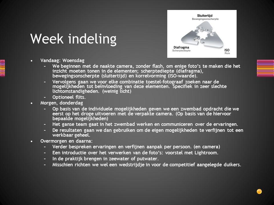 Week indeling Vandaag: Woensdag