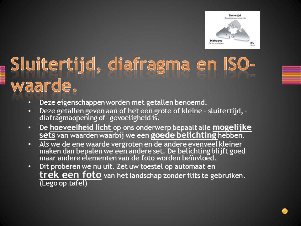 Sluitertijd, diafragma en ISO-waarde.