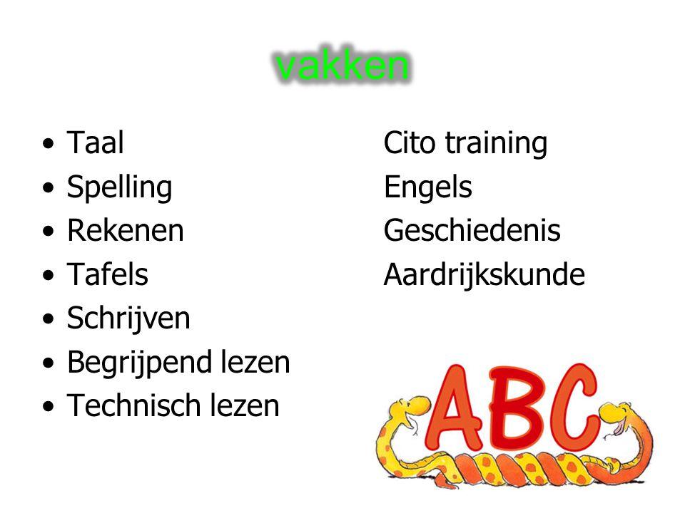 vakken Taal Cito training Spelling Engels Rekenen Geschiedenis