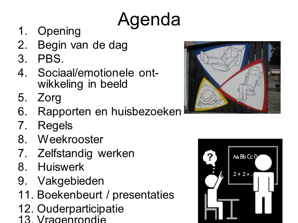 Agenda Opening Begin van de dag PBS.
