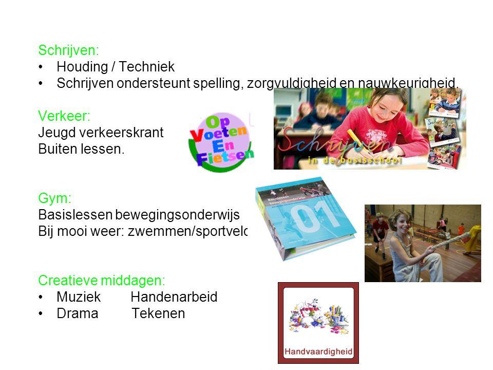 Schrijven: Houding / Techniek. Schrijven ondersteunt spelling, zorgvuldigheid en nauwkeurigheid. Verkeer:
