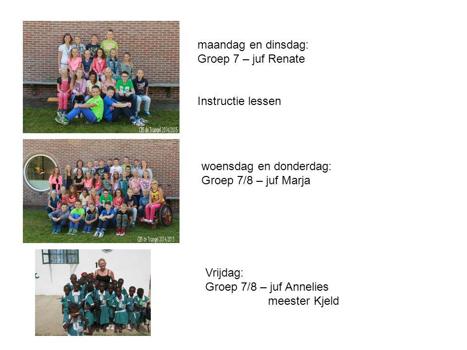 maandag en dinsdag: Groep 7 – juf Renate. Instructie lessen. woensdag en donderdag: Groep 7/8 – juf Marja.