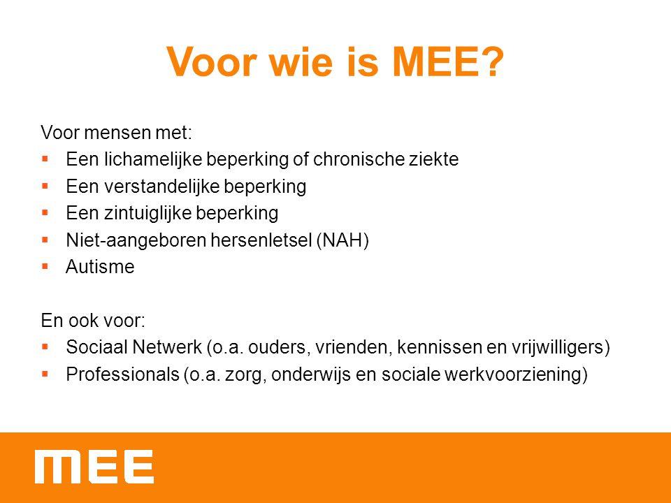 Voor wie is MEE Voor mensen met: