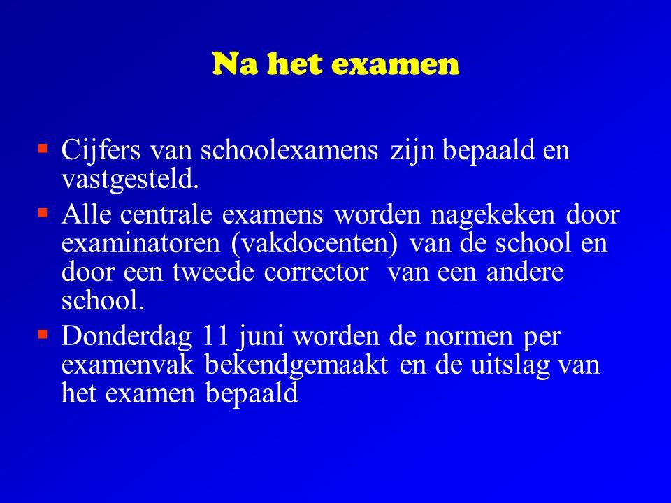 Na het examen Cijfers van schoolexamens zijn bepaald en vastgesteld.