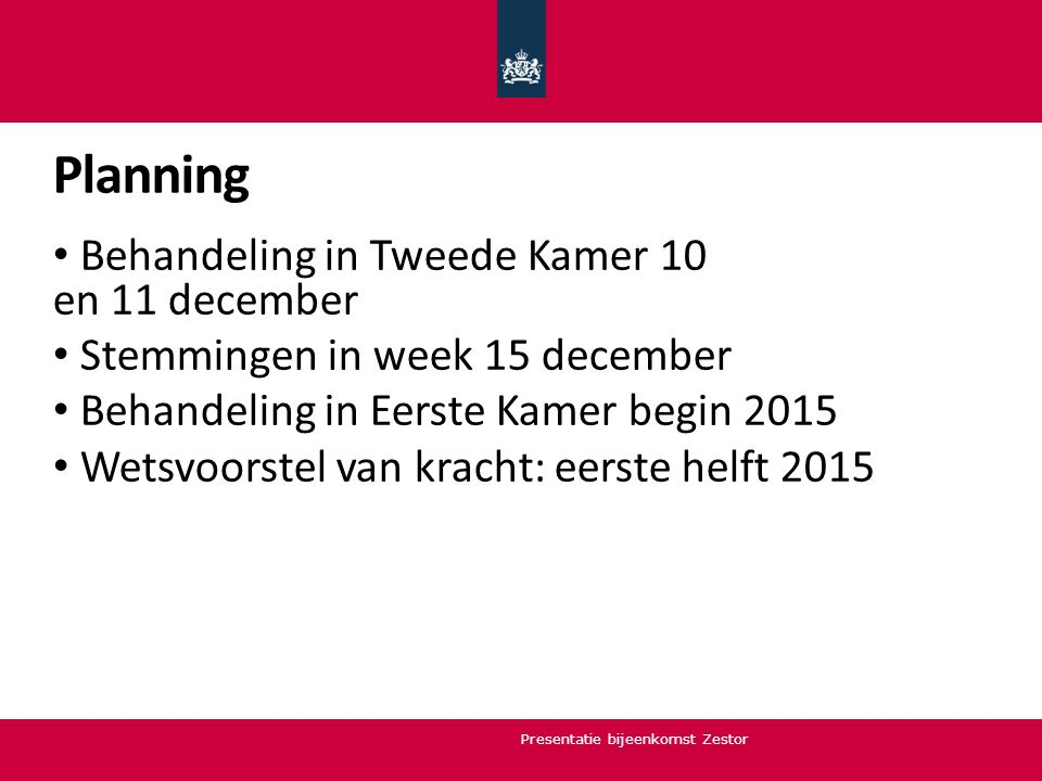Planning Behandeling in Tweede Kamer 10 en 11 december