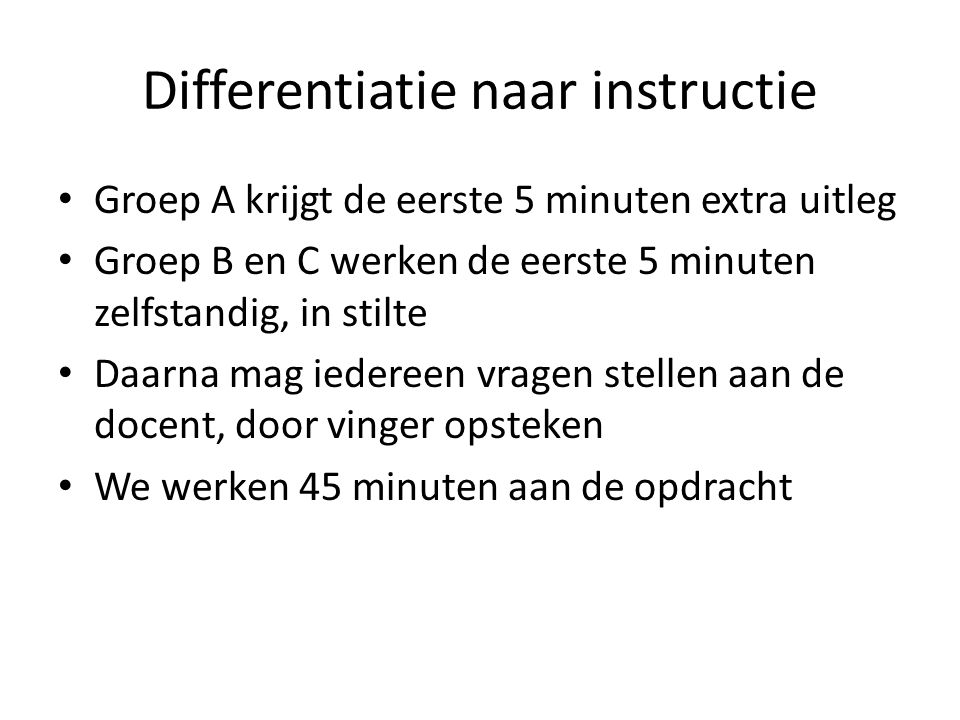 Differentiatie naar instructie