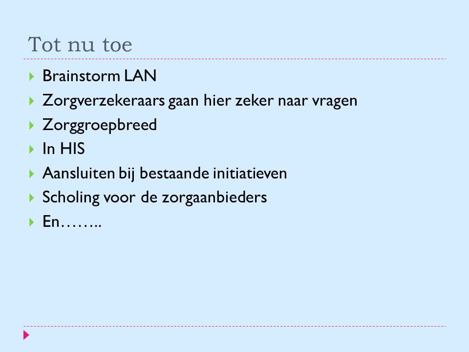 Tot nu toe Brainstorm LAN Zorgverzekeraars gaan hier zeker naar vragen