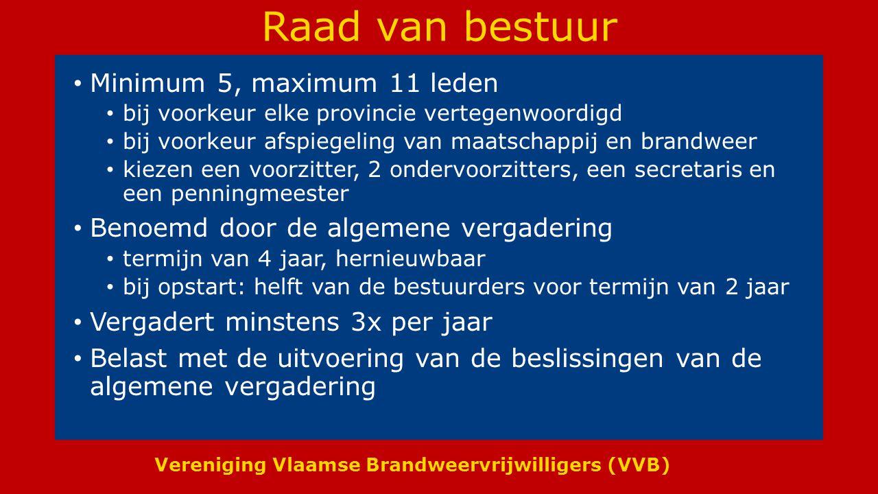 Raad van bestuur Minimum 5, maximum 11 leden