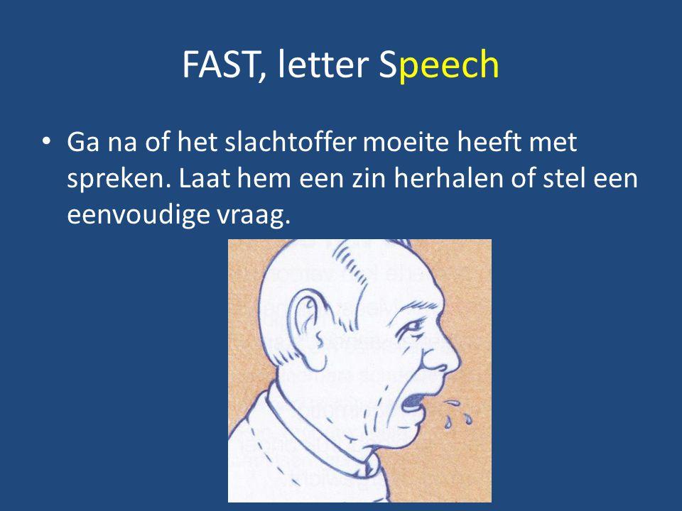 FAST, letter Speech Ga na of het slachtoffer moeite heeft met spreken.