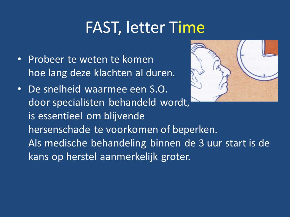 FAST, letter Time Probeer te weten te komen hoe lang deze klachten al duren.