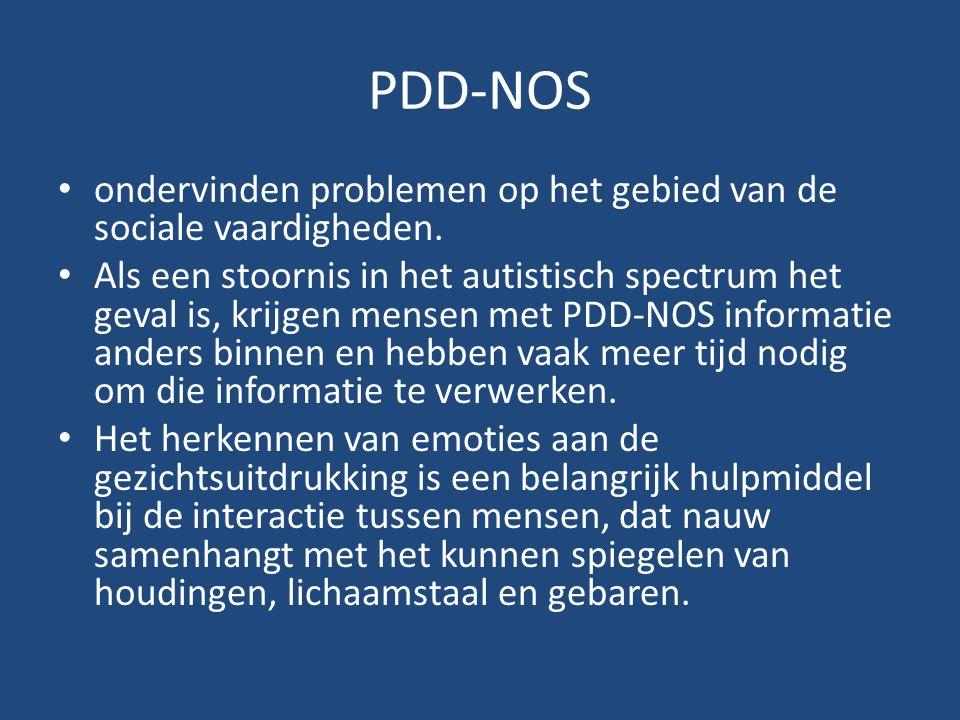 PDD-NOS ondervinden problemen op het gebied van de sociale vaardigheden.