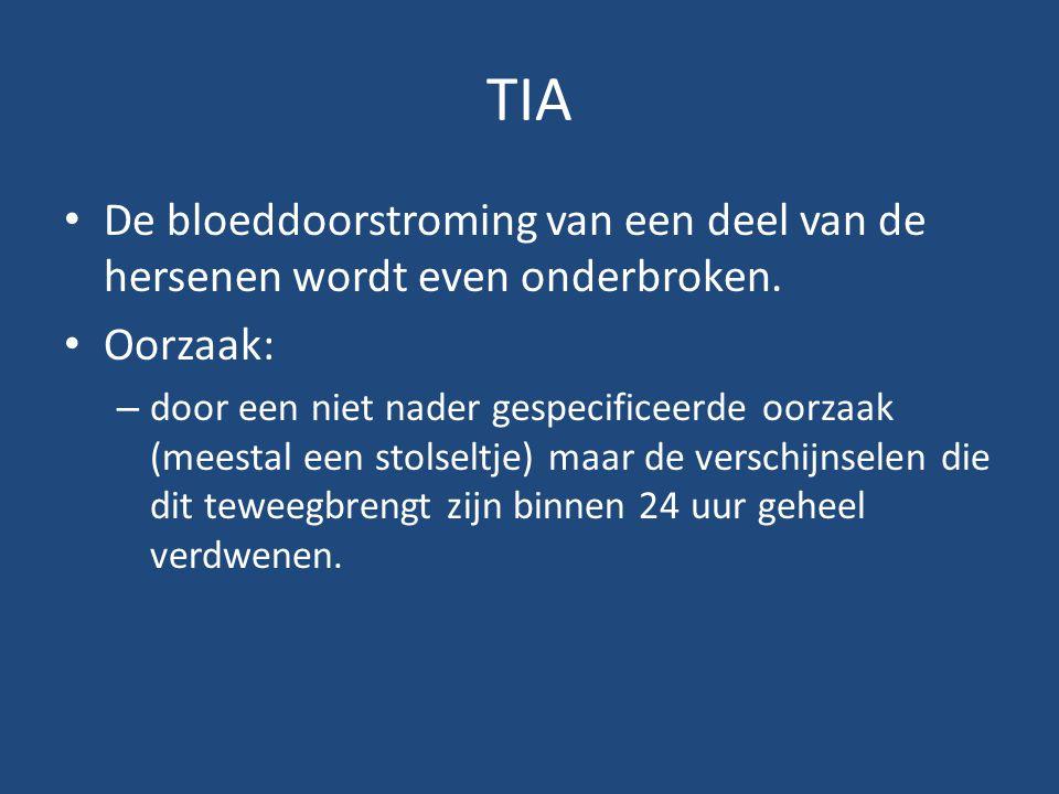 TIA De bloeddoorstroming van een deel van de hersenen wordt even onderbroken. Oorzaak: