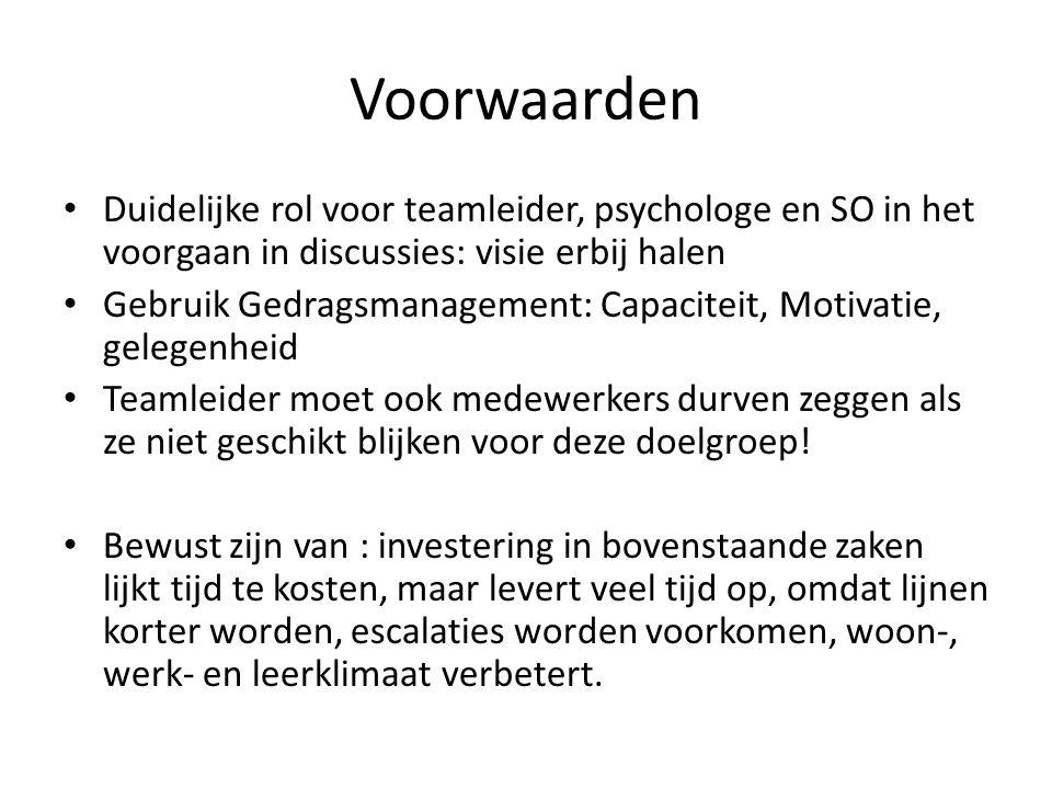 Voorwaarden Duidelijke rol voor teamleider, psychologe en SO in het voorgaan in discussies: visie erbij halen.