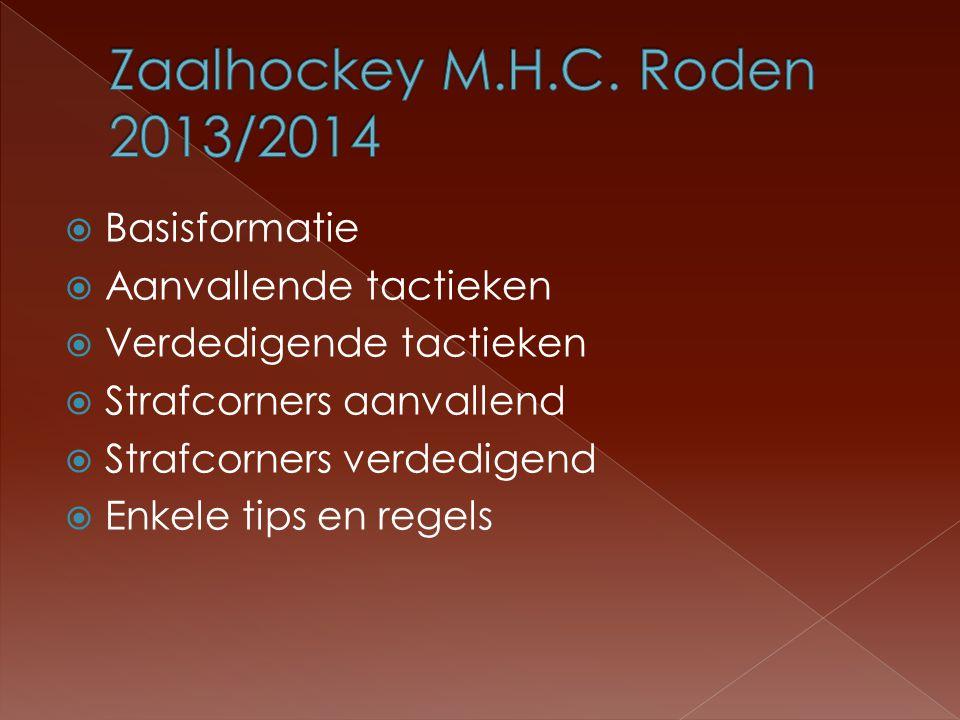 Zaalhockey M.H.C. Roden 2013/2014 Basisformatie Aanvallende tactieken