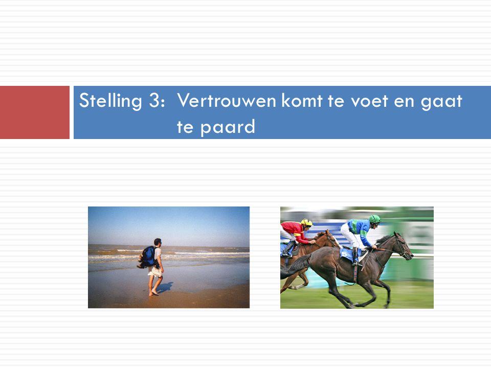 Stelling 3: Vertrouwen komt te voet en gaat te paard