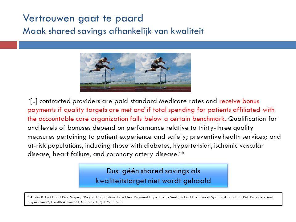 Vertrouwen gaat te paard Maak shared savings afhankelijk van kwaliteit