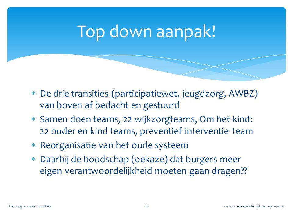 Top down aanpak! De drie transities (participatiewet, jeugdzorg, AWBZ) van boven af bedacht en gestuurd.