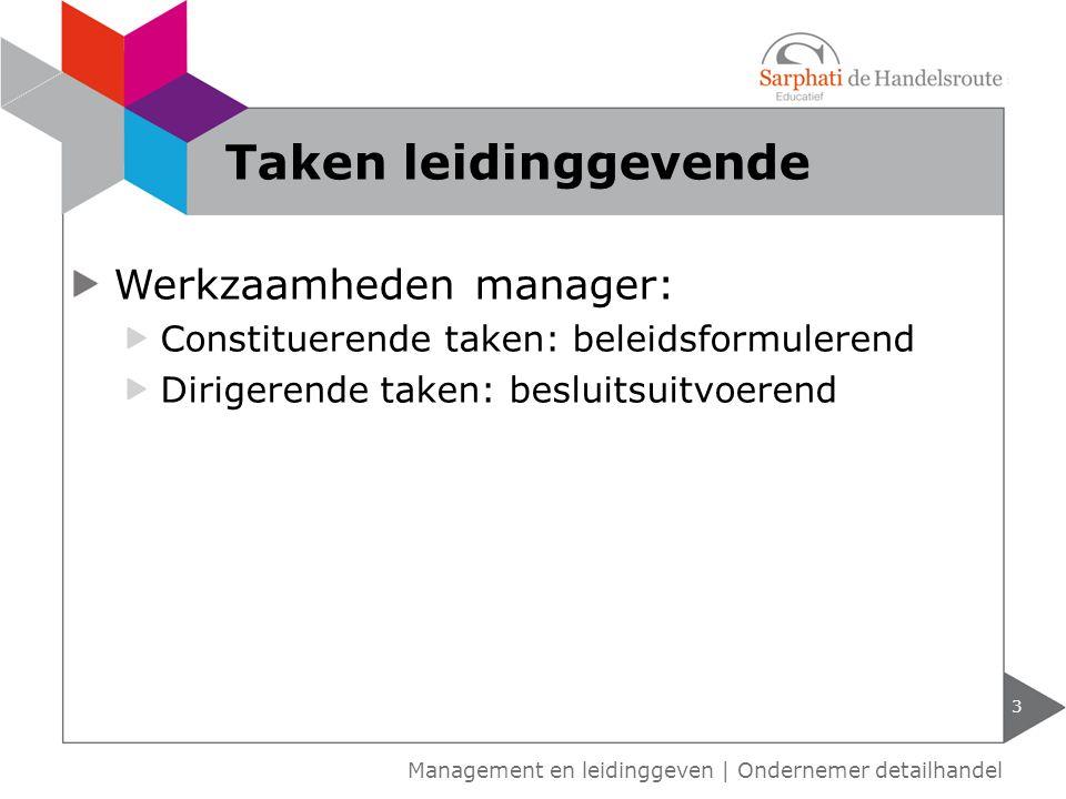 Taken leidinggevende Werkzaamheden manager: