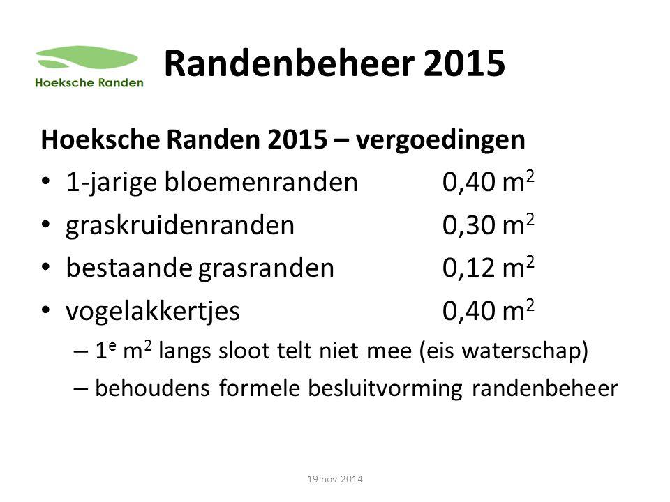 Randenbeheer 2015 Hoeksche Randen 2015 – vergoedingen