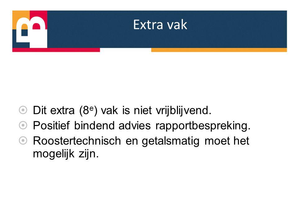 Extra vak Dit extra (8e) vak is niet vrijblijvend.
