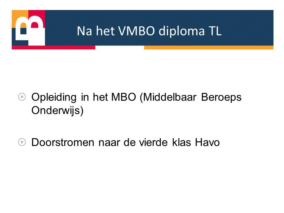 Na het VMBO diploma TL Opleiding in het MBO (Middelbaar Beroeps Onderwijs) Doorstromen naar de vierde klas Havo.