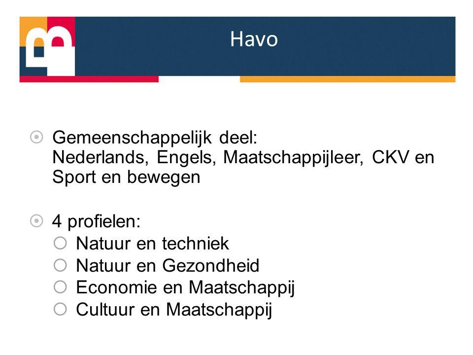 Havo Gemeenschappelijk deel: Nederlands, Engels, Maatschappijleer, CKV en Sport en bewegen. 4 profielen: