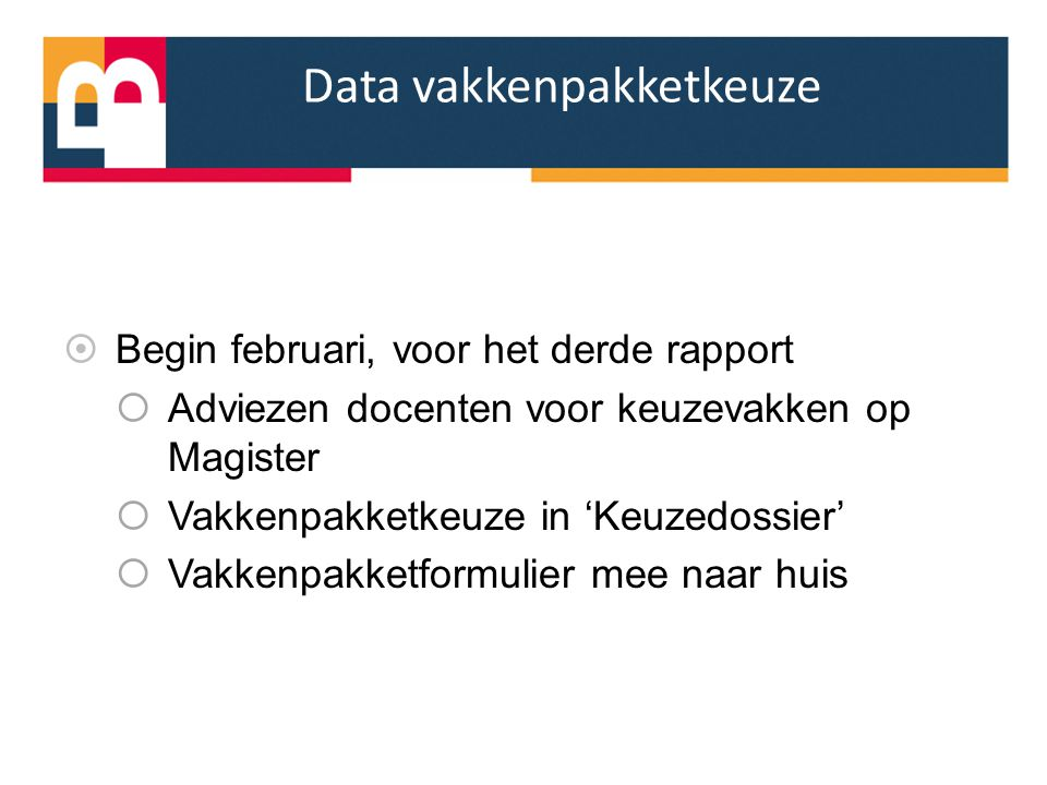 Data vakkenpakketkeuze