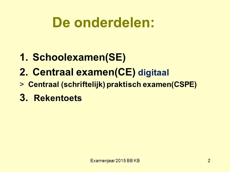 De onderdelen: Schoolexamen(SE) Centraal examen(CE) digitaal
