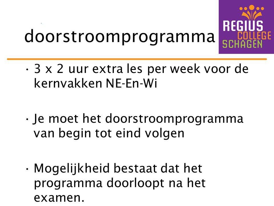 doorstroomprogramma 3 x 2 uur extra les per week voor de kernvakken NE-En-Wi. Je moet het doorstroomprogramma van begin tot eind volgen.