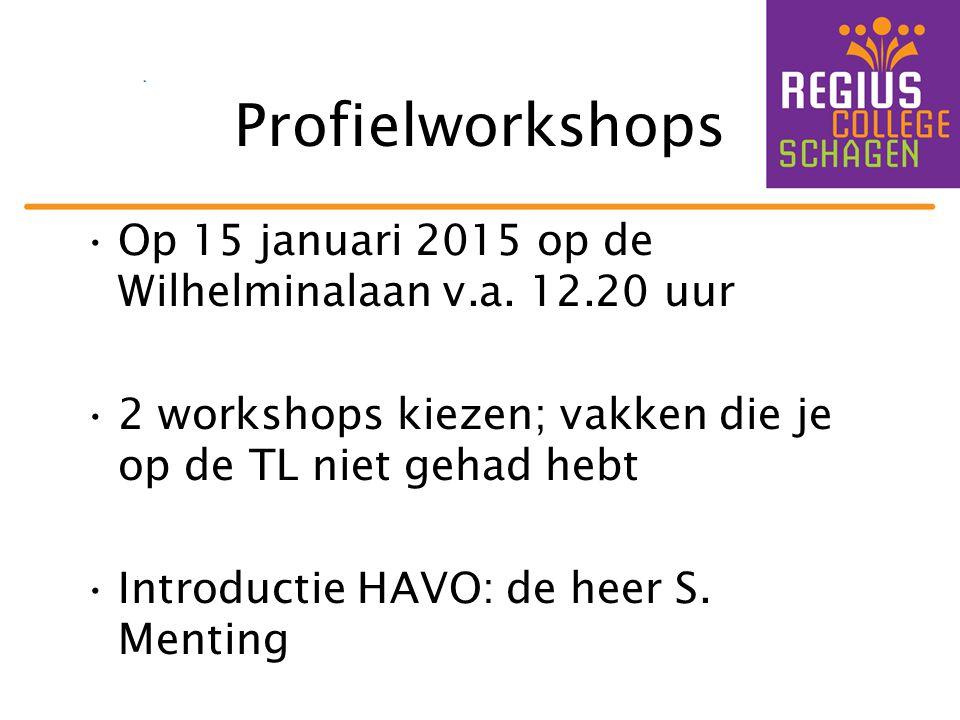 Profielworkshops Op 15 januari 2015 op de Wilhelminalaan v.a. 12.20 uur. 2 workshops kiezen; vakken die je op de TL niet gehad hebt.
