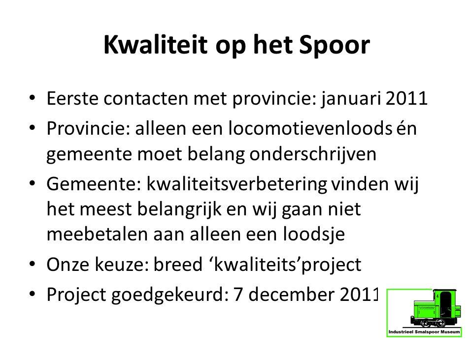 Kwaliteit op het Spoor Eerste contacten met provincie: januari 2011