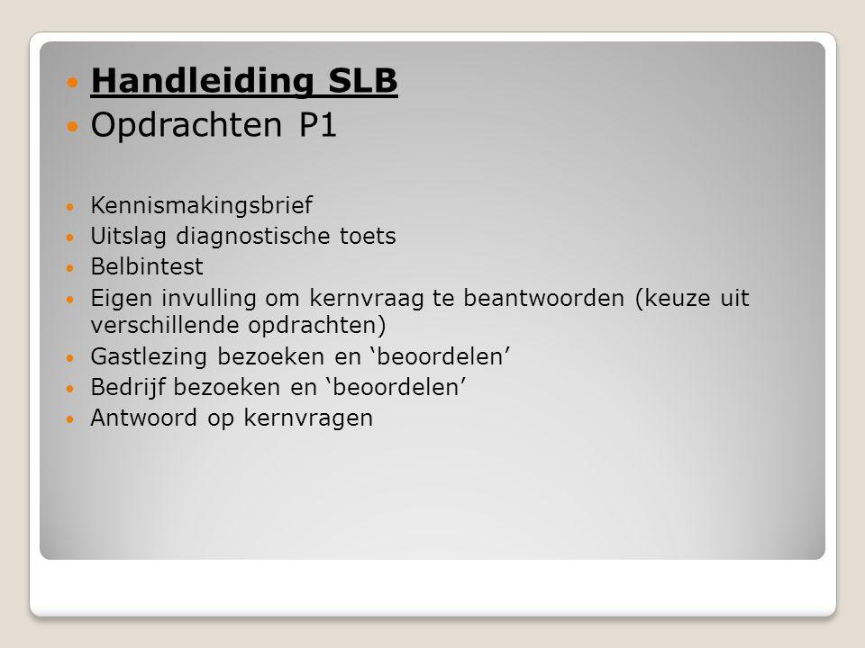 Handleiding SLB Opdrachten P1 Kennismakingsbrief