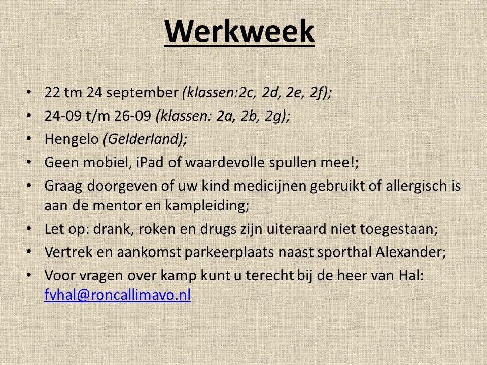 Werkweek 22 tm 24 september (klassen:2c, 2d, 2e, 2f);