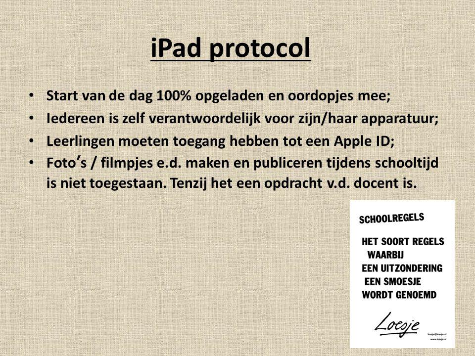 iPad protocol Start van de dag 100% opgeladen en oordopjes mee;