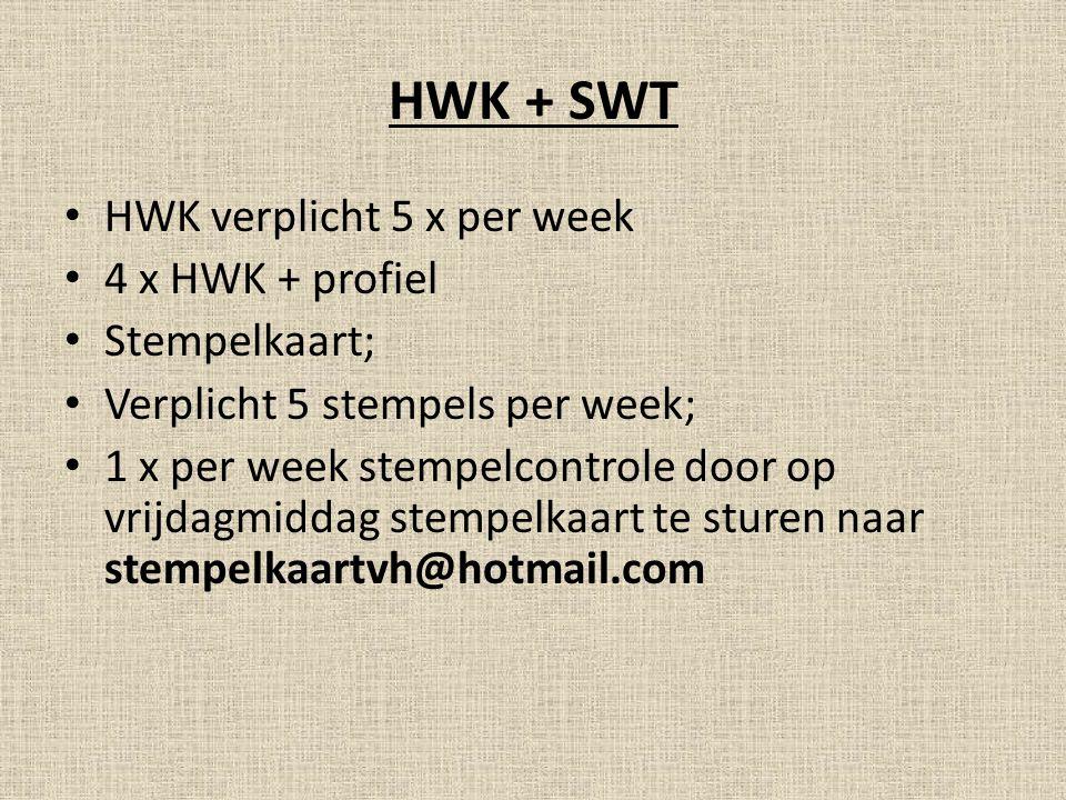 HWK + SWT HWK verplicht 5 x per week 4 x HWK + profiel Stempelkaart;