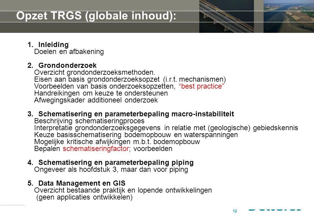 Opzet TRGS (globale inhoud):