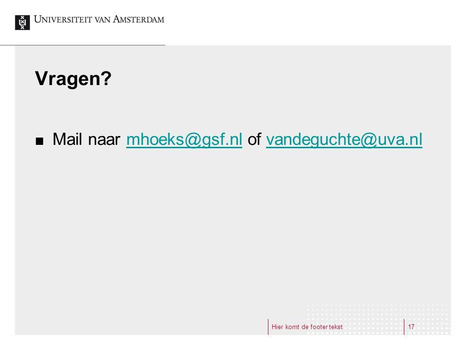 Vragen Mail naar mhoeks@gsf.nl of vandeguchte@uva.nl