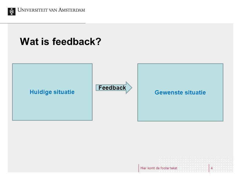 Wat is feedback Huidige situatie Gewenste situatie Feedback