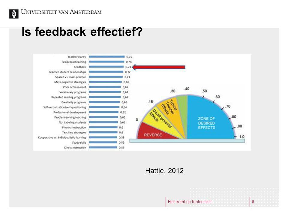 Is feedback effectief Hattie, 2012 Hier komt de footer tekst