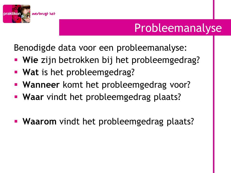 Probleemanalyse Benodigde data voor een probleemanalyse:
