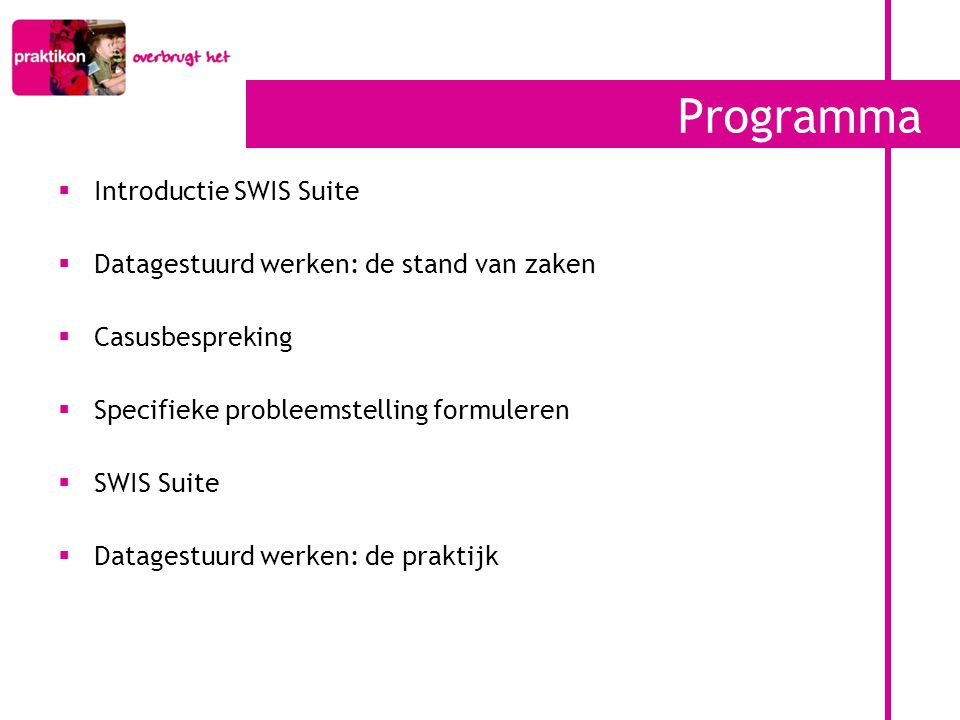 Programma Introductie SWIS Suite