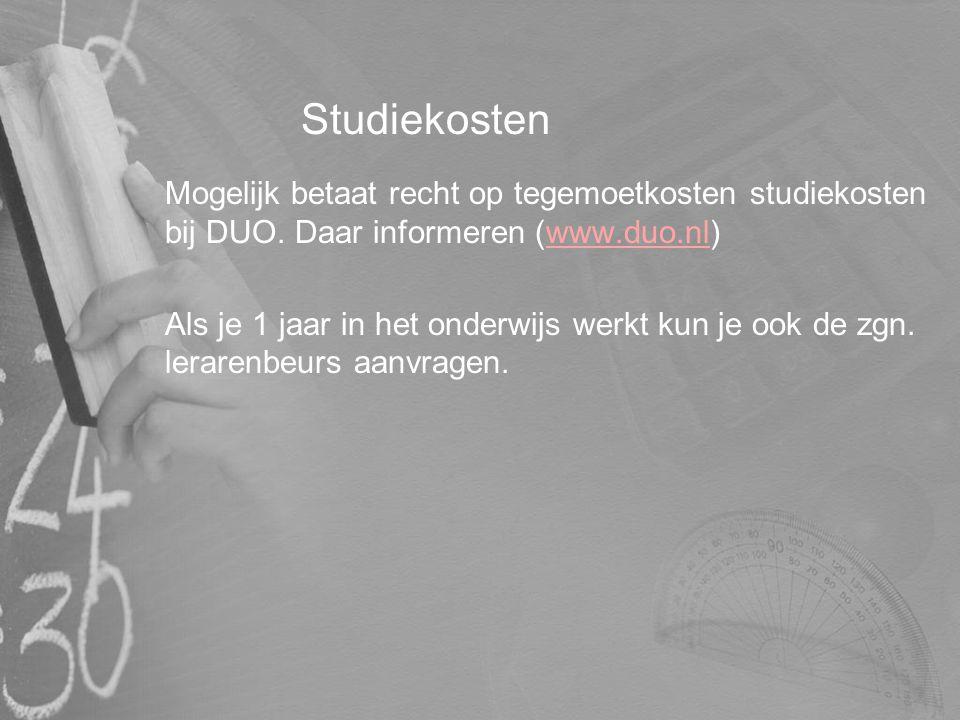 Studiekosten Mogelijk betaat recht op tegemoetkosten studiekosten bij DUO. Daar informeren (www.duo.nl)