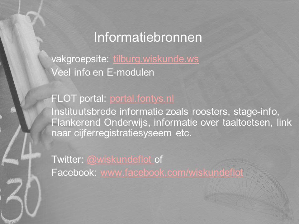 Informatiebronnen vakgroepsite: tilburg.wiskunde.ws