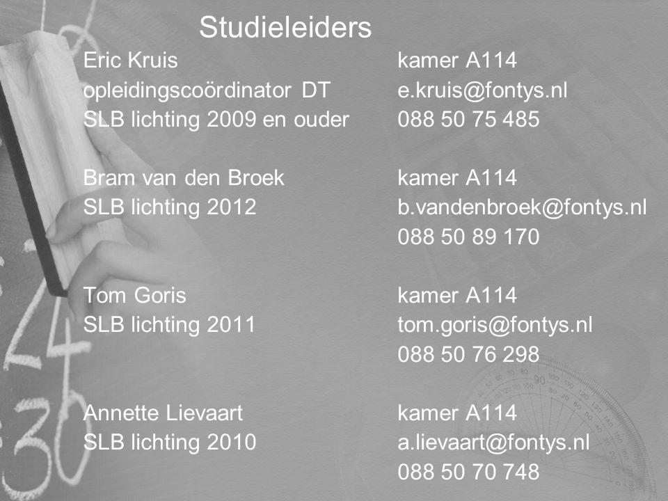 Studieleiders Eric Kruis kamer A114