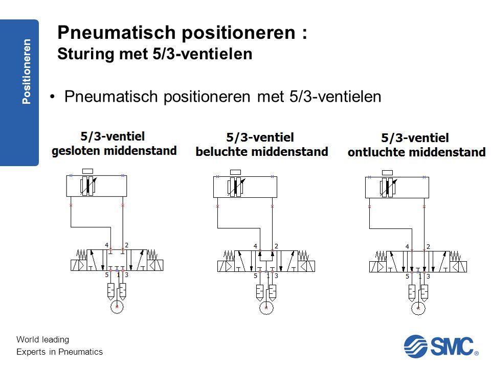 Pneumatisch positioneren : Sturing met 5/3-ventielen
