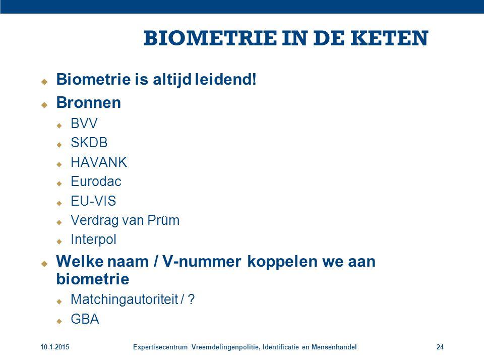 BIOMETRIE IN DE KETEN Biometrie is altijd leidend! Bronnen