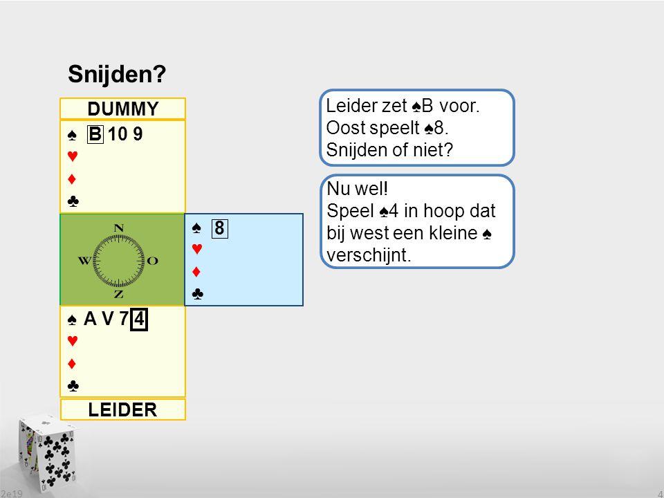 Snijden Leider zet ♠B voor. Oost speelt ♠8. Snijden of niet DUMMY ♠