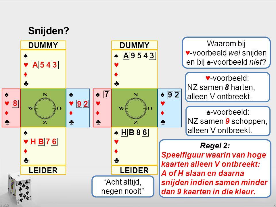 ♥-voorbeeld wel snijden en bij ♠-voorbeeld niet