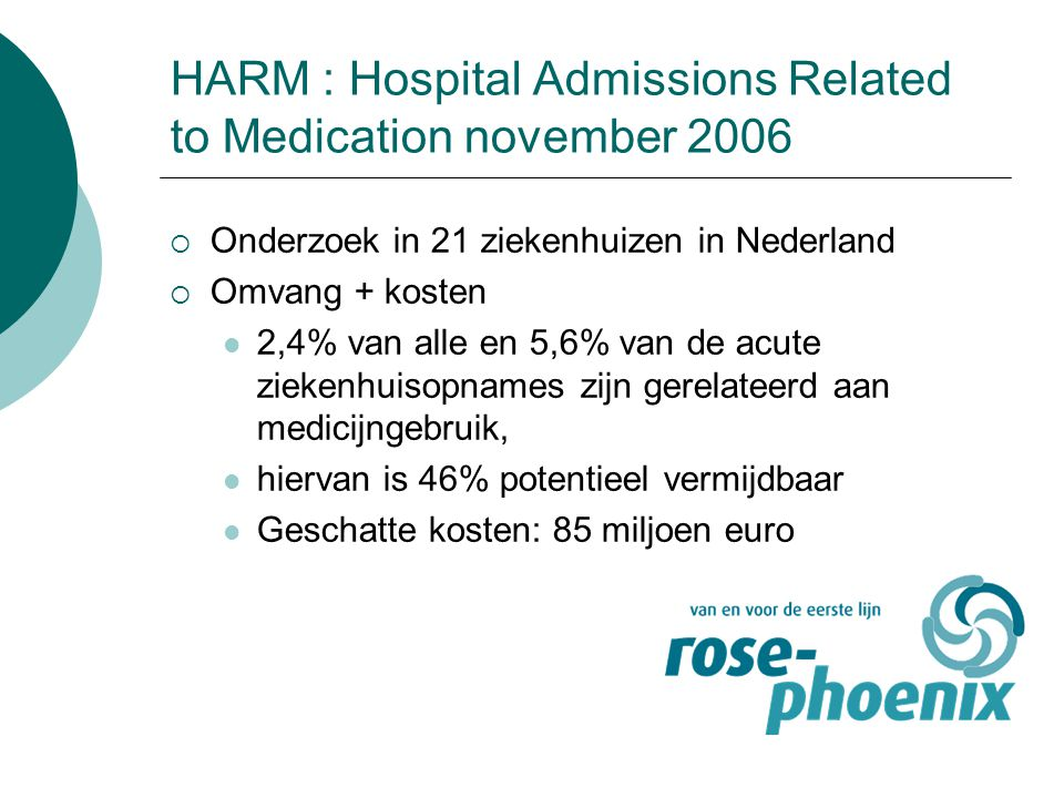 HARM : Hospital Admissions Related to Medication november 2006