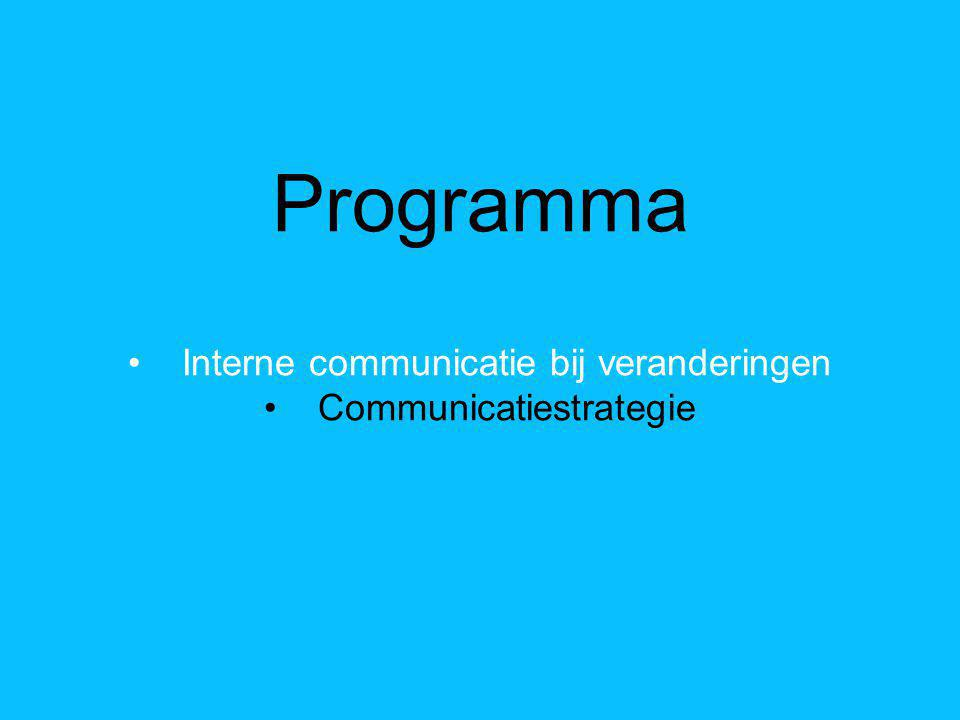 Programma Interne communicatie bij veranderingen Communicatiestrategie